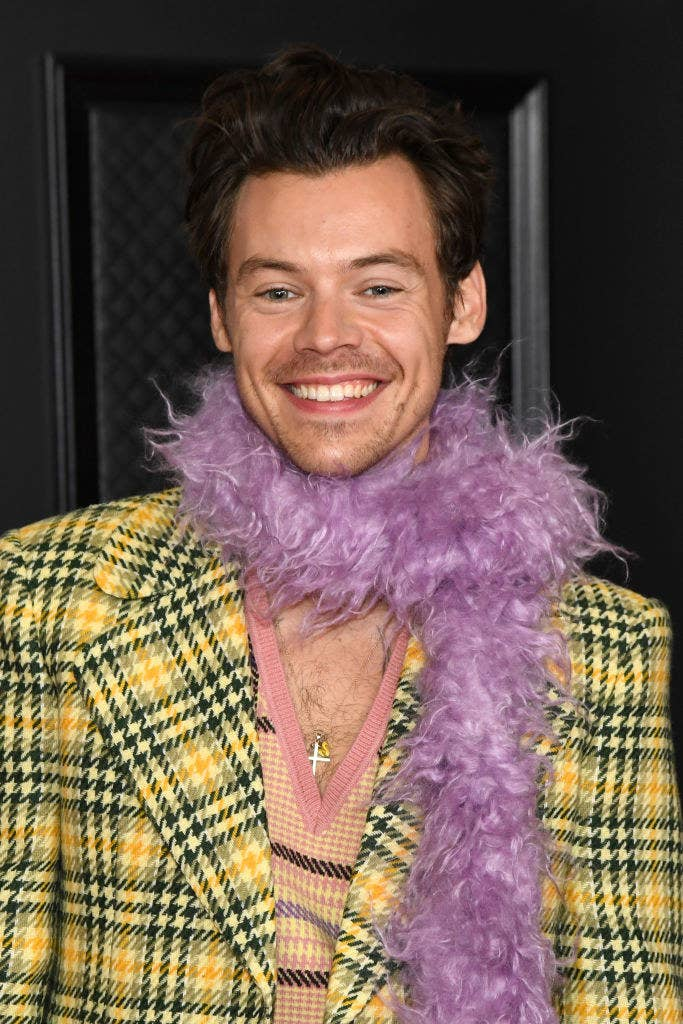 Harry smiling at the Grammy Awards in a plaid jacket and feather boa