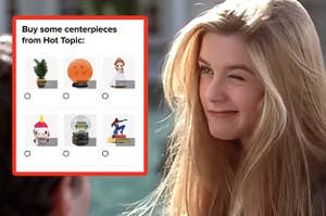 """Cher Horowitz looking at a quiz question, """"Buy some centerpieces from Hot Topic"""""""