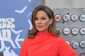 Kate Beckinsale poses for a photo on the red carpet