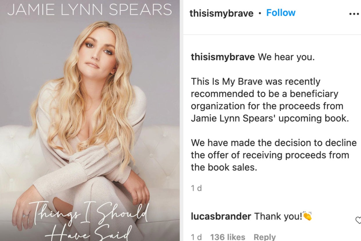 Jamie Lynn Spears' Donation Of Her Book Sales Was Denied By A Mental Health Charity After They Received Intense Backlash For Supporting Her Amid Her Messy Feud With Britney Spears