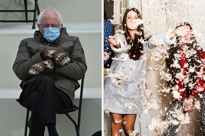 On the left, Bernie Sanders sitting in a chair with his mitten-ed hands folded across his chest at the 2021 inauguration, and on the right, feathers flying in the air as people have a pillow fight