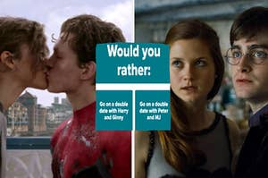 Peter Parker kisses MJ Jones and Ginny Weasley stands close to Harry Potter