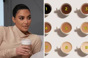 Kim Kardashian drinking coffee, and a bunch of differently colored coffee