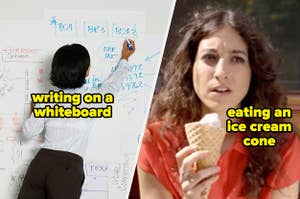 Women feel uncomfortable writing on a whiteboard or eating an ice cream cone in public