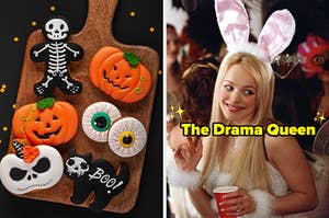 On the left, some Halloween cookies shaped like skeletons, cats, eyes, and jack-o'-lanterns, and on the right, Regina George dressed up like a bunny in Mean Girls labeled The Drama Queen