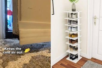 (left) Door draft stopper (right) shoe storage