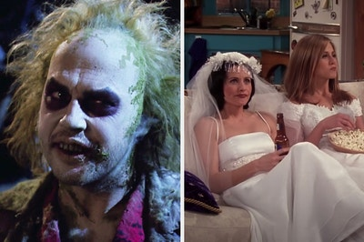 On the left, Michael Keaton as Beetlejuice, and on the right, Monica and Rachel from Friends sitting on the couch wearing wedding dresses while eating popcorn and drinking beer