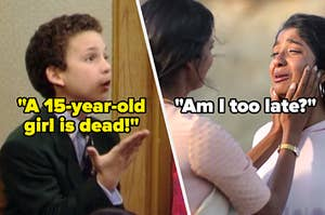 """Cory from Boy Meets World saying, """"A 15-year-old girl is dead,"""" and Devi from Never Have I Ever saying, """"Am I too late?"""""""