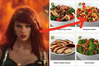 Taylor Swift is on the left in front of flames with an arrow pointing at Kung Pao Chicken