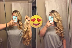 on left, reviewer with shoulder-length hair holds blonde extensions in hand. on right, same reviewer wearing extensions that match her exact hair color