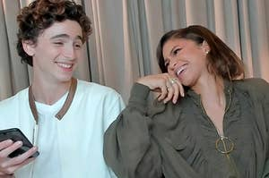 Timothee Chalamet and Zendaya laughing