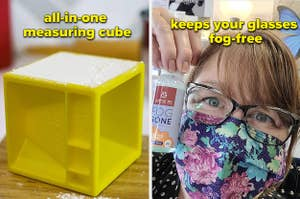 all in one measuring cube on the left and glasses that are fog-free on the right