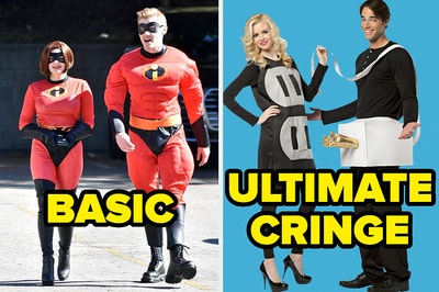 """Mr. and Mrs. Incredible costumes labeled """"basic"""" and plug and outlet costumes labeled """"ultimate cringe"""""""