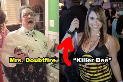 """Side-by-side of someone dressed as Mrs. Doubtfire with singed breasts and someone dressed as a """"killer"""" bee holding a bloody knife"""