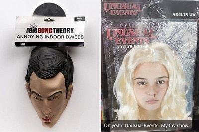 A knockoff Big Bang Theory mask, and a knockoff Stranger Things wig