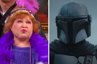 """Muriel from """"Suite Life"""" is on the left with the Mandalorian on the right"""