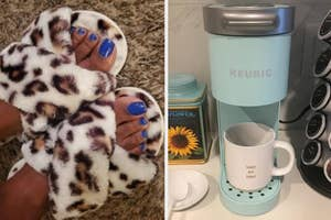 on the left fuzzy criss-cross leopard print slippers, on the right a slim light blue keurig coffee maker