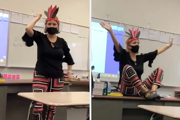 A High School Teacher Has Been Placed On Leave After She Danced Around Waving Air Tomahawks, Laughing, And Chanting In A Fake Headdress