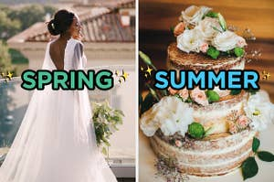 On the left, a bride wearing a gown and holding a bouquet labeled spring, and on the right, a naked wedding cake topped with flowers labeled summer