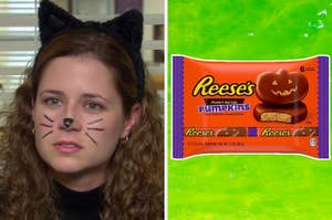 On the left, Pam from The Office with whiskers painted on her face and cat ears on her head, and on the right, some Reese's Beaut Putter Pumpkins