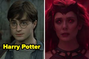 On the left, Harry Potter, and on the right, Scarlet Witch in WandaVision