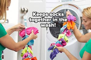 model using tool that keeps socks together in the wash