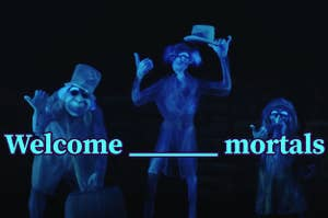 """Hitchhiking ghosts with """"welcome foolish mortals"""" over top"""