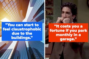 """Tall buildings in New York City and Ross Gellar from """"Friends"""" looking annoyed"""