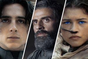 Timothee Chalamet, Oscar Isaac and Zendaya in Dune