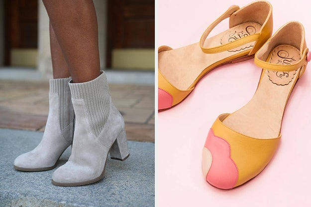 (left) grey boots (right) yellow buckle flats