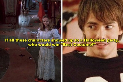 Casper stands with Kat and Aaron Samuels in a football costume