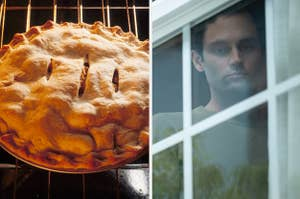 a pie on the left and joe looking through a window on the right