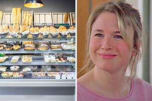 On the left, a bakery display case full of various breads and pastries, and on the right, Bridget Jones smiling
