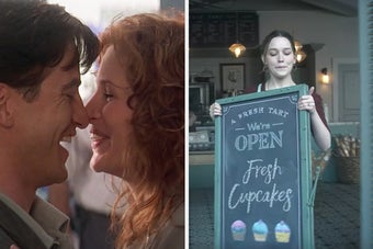 On the left, Dermot Mulraney as Michael and Julia Roberts as Jules touching noses in My Best Friend's Wedding, and on the right, Love from You holding a chalkboard sign that says A Fresh Tart, We're Open, Fresh Cupcakes