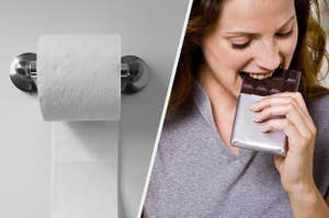 Toilet paper rolled under and someone biting into a segmented chocolate bar