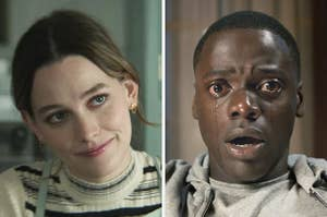On the left, Love from You, and on the right, Daniel Kaluuya crying as Chris in Get Out