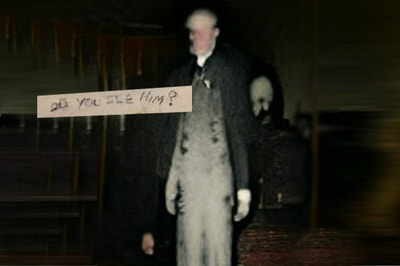 """Creepy ghost man with the words """"Do You See Him?"""""""
