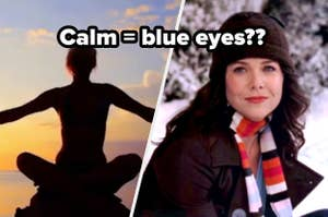 A woman does yoga during sunset and a close up of Lorelai Gilmore