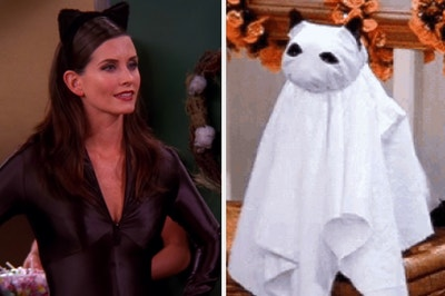 Woman dressed as a cat and a cat dressed as a ghost