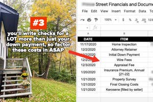 #3: you'll write checks for a LOT more than just your down payment, so factor these costs in ASAP; arrow pointing to a screenshot of a spreadsheet with many different payments over the course of a home purchase