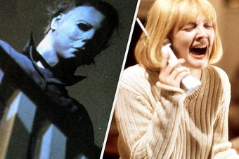 Michael Myers and Drew Barrymore in Scream