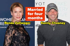 """Renée Zellweger and Kenny Chesney with text in between, """"Married for four months"""""""
