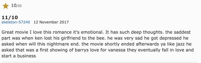 An 11/10 rating for the movie