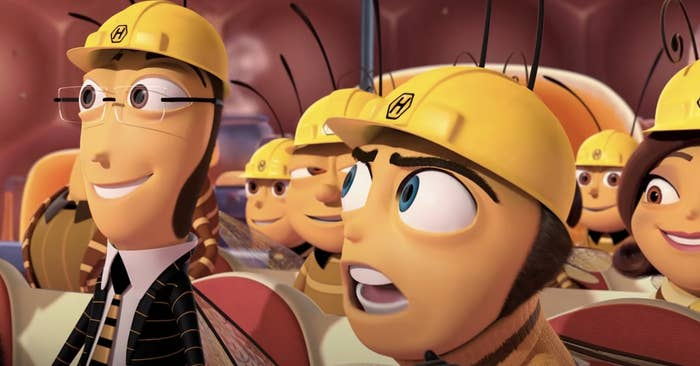Anthropomorphic bees in worker hats