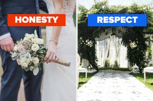 """A couple is married, labeled, """"honesty"""" with a decorated altar on the right labeled, """"respect"""""""