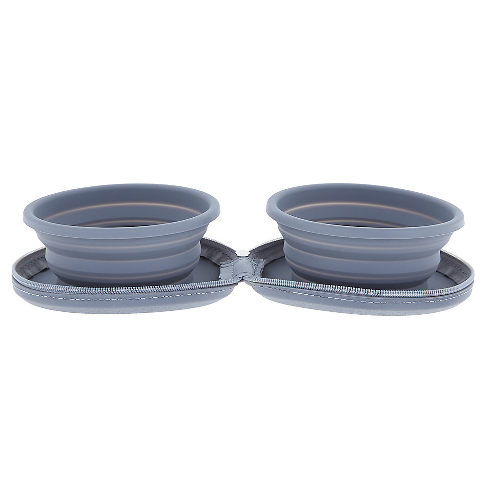 two blue dog bowls