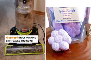 A vacuum with five star text and pet hair / a flower-shaped toilet bomb