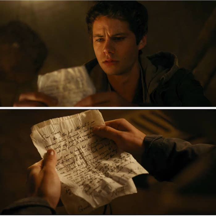 """Thomas reading the note from Newt in """"Maze Runner: The Death Cure"""""""