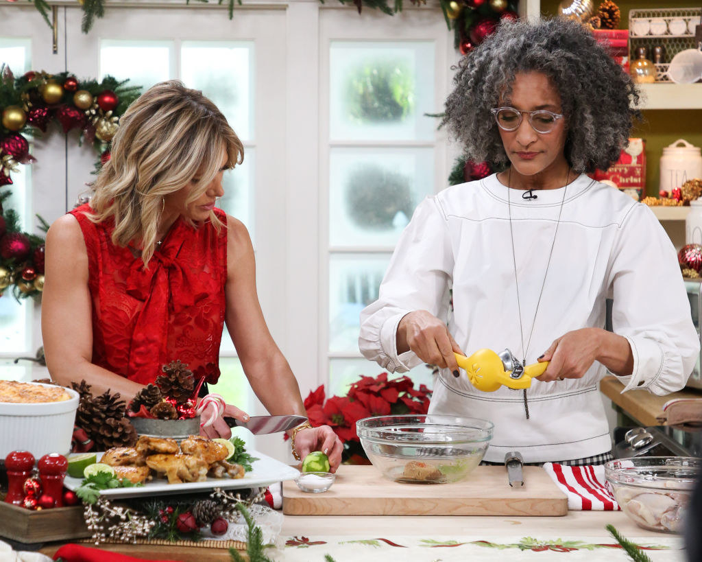 Carla Hall doing a cooking segment