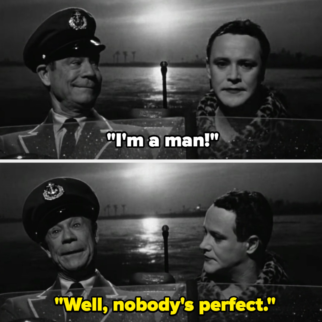 """Jerry says he's a man, andOsgood replies, """"Well, nobody's perfect"""""""